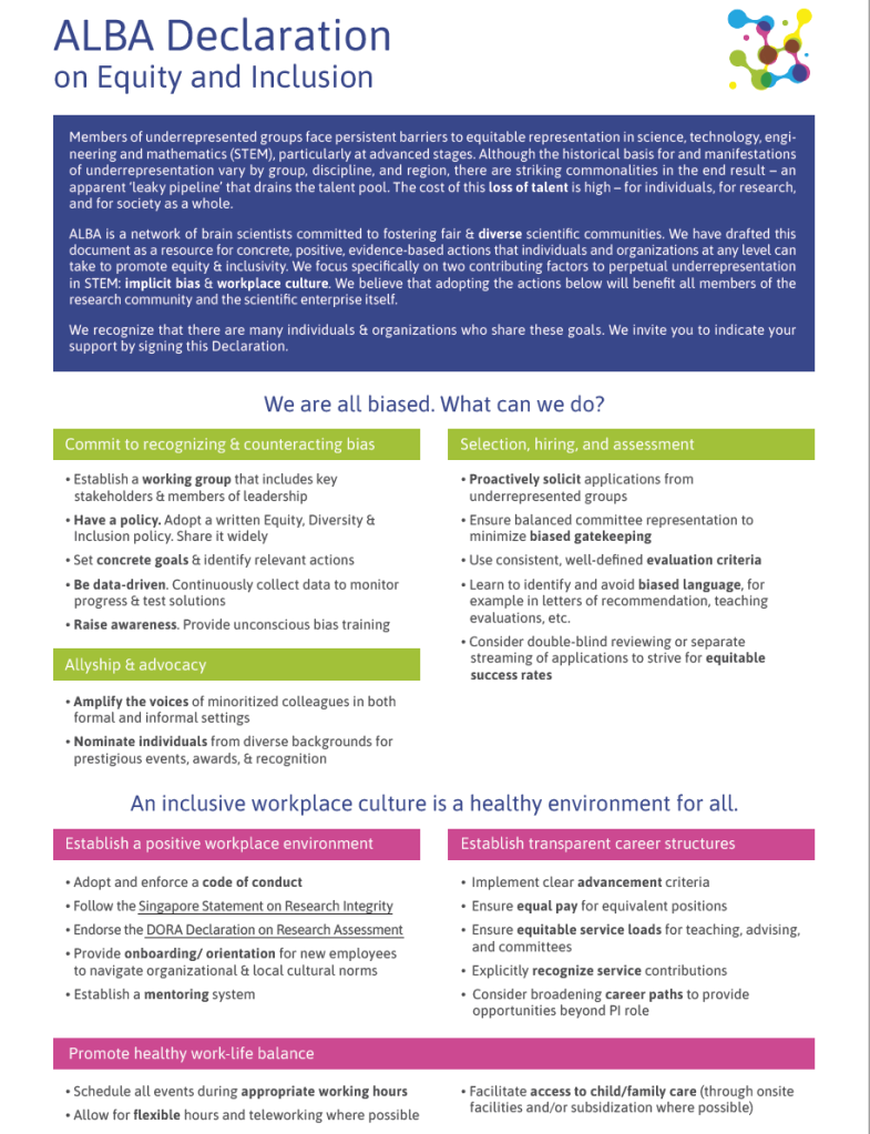 Screenshot of the ALBA Declaration on Equity and Inclusion document.