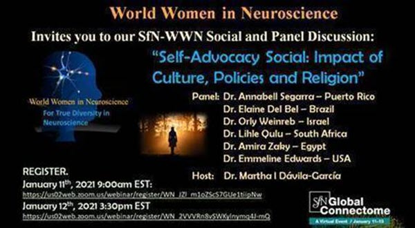 """Flyer for WWN event, """"Self Advocacy Social: Impact of Culture, Policies, and Religion,"""" as part of the Society for Neuroscience Global Connectome Virtual Conference on 11 January and 12 January 2021."""